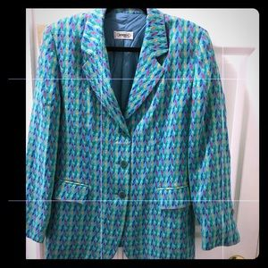 Missoni zigzag blue collared 3-button Blazer sz 12